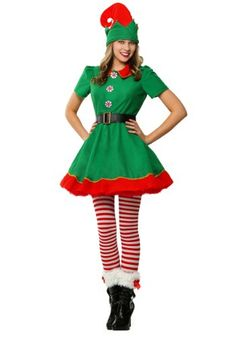 e5b16319ccd Adult Prestigious Womens Santa Claus Helper Green Holiday Elf Christmas Costume  Sweet Dress Make You Jingle All The Way