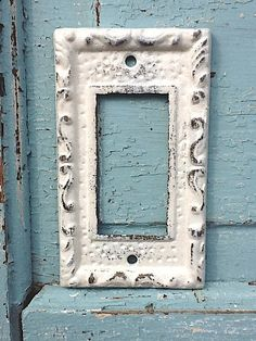 Metal Wall Decor, Light Switch Cover, Creamy Off White, Rocker Switch Plate. $10.00, via Etsy.