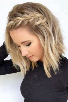 A braid will add a fun element to your short hair! - A braid will add a fun element to your short hair! Side Braid Hairstyles, Short Hair Updo, Female Hairstyles, Short Beach Hairstyles, Long Haircuts, Loose Curls Short Hair, Pixie Haircuts, Curled Hair With Braid, Wedding Hairstyles