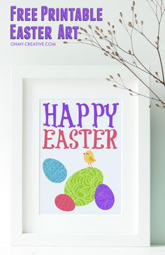 This Easter Free Printable Art is perfect to add to Easter decorations, the mantel or to the Easter brunch buffet! Adorable Easter graphics - Happy Easter!