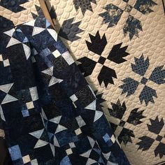 Doug Leko's Taylored Stars next to the Indigo Bear Paw Quilt. Doug will be teaching Taylored Stars on Sunday, June 28 from 10am until 5pm. Remember we are open to the general public from 12pm - 4pm on Sundays through the Summer except for July 4th weekend. We will be closed both July 4th & July 5th. There are still spaces in Taylored Stars. The supply list is on the class page at www.hollyhillquiltshoppe.com @dougleko  #showmethemoda