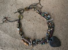 Gold Leaf Beaded Necklace