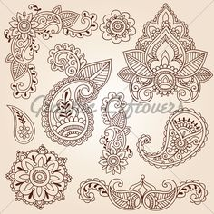 henna patterns   Henna Mehndi Tattoo Vector Illustration Design Elements Set · GL ...