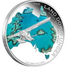 2014 The Land Down Under - Great Barrier Reef 1 oz Fine Silver Proof Coin Mint Coins, Silver Coins, Numismatic Coins, Canadian Coins, Bullion Coins, Silver Bullion, Commemorative Coins, Proof Coins, Great Barrier Reef