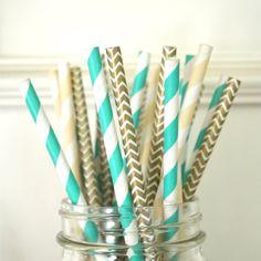 Tiffany's Paper Straws set of 30 AQUA GOLD & CREAM by TheSimplyChicShop, $4.80
