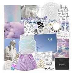 """☾ perfection will not come."" by thundxrstorms ❤ liked on Polyvore featuring Miista, Chanel, Miss Selfridge, Clips, Stila, J.Crew, TalisLittleTag and MeenaGotTagged"