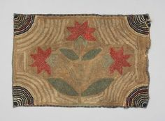 ca.1880-1900   good idea for Christmas rug--use any applique in center