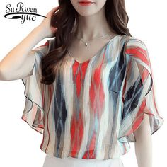 Big Discount Women Chiffon Blouses Summer Color Striped Print Tops Elegant Petal Sleeve Shirt Plus Size Floral Estampado Blusas Femme 0431 30 Chiffon Shirt, Chiffon Tops, Chiffon Blouses, Print Chiffon, White Chiffon, Casual Skirt Outfits, Casual Dresses, Stylish Dresses, Curvy Outfits