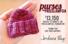 $13K raised to benefit the Preeclampsia Foundation? Free beanie pattern for preemies