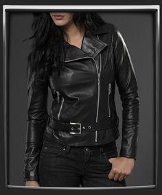 Classic biker style women's leather jacket  £315.00