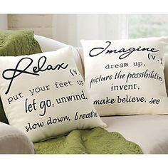 Casual toss pillows give meaning to two of our favorite pastimes!