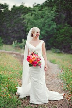 Bold Pink and Orange Bridal Bouquet   photography by http://jnicholsphoto.com