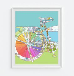 Seattle Washington Vintage Bicycle Map DIGITAL by droppedpinshop