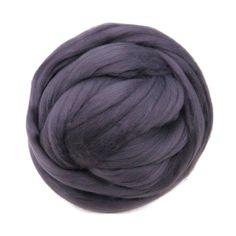 Merino / Silk Roving, Fog Gray with purple hue - Beautiful Cool Tone Mulberry Wool Silk Blend Fiber for Spinning & Felting