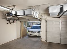 Not visible from the street and attractive from within the garage. Taking garage storage to an all new level with clever use of smartphone technology! Garage Storage Cabinets, Door Storage, Storage Shelves, Hidden Storage, Storage Stairs, Basement Storage, Kitchen Storage, Garage Organization Tips, Garage Storage Solutions