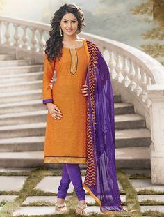 $23.78Hina Khan Orange Cotton Churidar Suit 56783