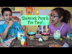 St. Patrick's Day is coming and I set my two favorite friends up to make some easy Shamrock Punch. No kissing or pinching allowed, but these little leprechau...