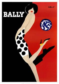 Vintage Poster - Bally - Fashion - Shoe - Spots - Dots - Polkadots - Black Red and White - As seen on 'The Block Sky High'