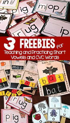 3 fun freebies for learning and practicing short vowel sounds and CVC words. Cookie Sheet Activities, Vowel Activities, Word Work Activities, Literacy Activities, Literacy Centers, Free Activities, Reading Activities, Literacy Stations, Reading Centers