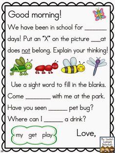 Buy 32 morning messages for May! print or projector friendly! Kindergarten Anchor Charts, Kindergarten Language Arts, Kindergarten Literacy, Early Literacy, Preschool, Beginning Of The School Year, First Day Of School, School Classroom, School Fun