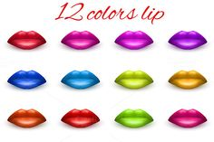 Check out Set of 12 lips in different colors by Vitamin on Creative Market