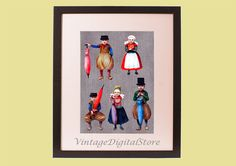 Figures of Сhildren in Ancient Clothes, Children's Fashion, Digital Files Download  for transfer on pillow, t-shirt, bag, canvas, paper. by VintageDigitalStore on Etsy
