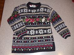 Victorian Christmas Sweater by CosbysCloset on Etsy, $20.00 Chevron Roses Snowflakes Checker Elegant