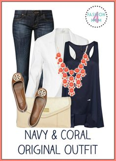 Navy & Coral Outfit: Affordable Fashion For Women.  I am OBSESSED with this site!  She takes pinterest outfits like this one and finds look alikes that are affordable for everyone's budget!