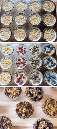 To-Go Baked Oatmeal with Your Favorite Toppings Popular Recipes On Pinterest Make Ahead Breakfast, Breakfast Recipes, Breakfast Time, Breakfast Ideas, Baking Set, Baking Tools, Toddler Meals, Kids Meals, Baking Recipes For Kids