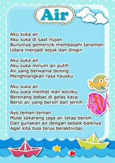 cerita pendek bertema air Kindergarten Assessment, Kindergarten Reading Activities, Kindergarten Lessons, Kindergarten Worksheets, Activities For Kids, Kids Story Books, Stories For Kids, Learning Letters, Fun Learning