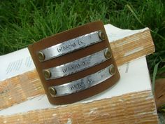 www.MyBellaMarketplace.com  #MyBellaMarketplace  Breathe In Breathe Out Move On Custom Hand Stamped 3 Tag 2 Inch Tall Leather Cuff Bracelet by MyBella