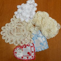 "17 Vintage Heart Doilies Centerpieces Crafts, Matching 12 plus 2 Pairs plus Large Single, 4""-8"" Most Unused"