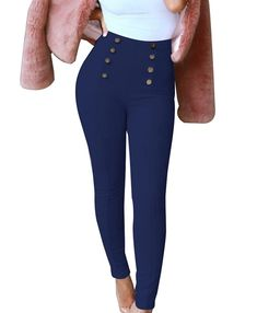 GUOLEZEEV Womens Skinny Pencil Pants Suede High Waisted Ankle Length Leggings With Button Embellish - best woman's fashion products designed to provide Basic Leggings, Ankle Length Leggings, Suede Leggings, Ankle Pants, Tight Leggings, Tights, Pants For Women, One Piece, Skinny