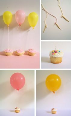 Balloons and cupcakes. Helium filled balloons affixed to the cupcake with a twine and toothpics. Delicious.