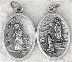 Gold and Silver Pendants and Medals depicting Our Lady of Lourdes the Apparitions and St. Silver Pendants, Gold Pendant, Catholic Medals, Our Lady Of Lourdes, Silver Charms