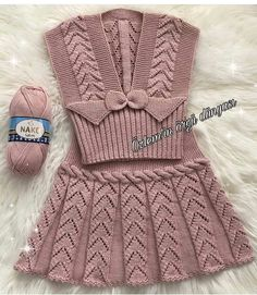 U Happy days . I wish you a nice week . - Nurcan Pelek - - U Happy days . I wish you a nice week . Knit Baby Dress, Knitted Baby Cardigan, Knitted Baby Clothes, Crochet Clothes, Crochet Patterns For Beginners, Baby Knitting Patterns, Baby Patterns, Gilet Crochet, Knit Crochet