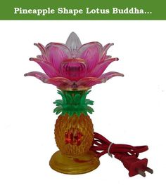 "Pineapple Shape Lotus Buddha Lamp. This beautiful Buddha lamp has pineapple shape on the bottom and pink lotus on the top. Pineapple has the meanings of good omen and good luck will fall on you. Chinese word WEALTH in front of the pineapple lamp represents to bring money in. In addition, lotus light in front of Buddha can illuminate your future and give you ultimate wisdom. It is perfect on your Buddha altar to bring prosperity and wisdom. The dimension of the lotus lamp is approx. 5"" x 5""…"
