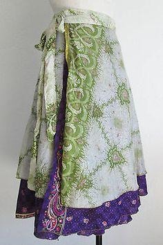 India Silk Peasant Hippie Boho Double Layer Magic Wrap Around Skirt/ Dress