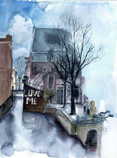 LOVE ME | #iamsterdam | © 2014 Alexa Dilla #Amsterdam #watercolor http://www.alexadilla.de/