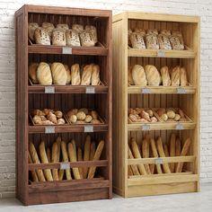 models: Food and drinks - Bread Shelves Bakery Shop Interior, Bakery Shop Design, Bread Display, Bakery Display, Bakery Kitchen, Home Bakery, Bakery Store, Bakery Cafe, Deli Shop