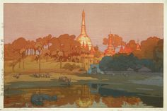 "Hiroshi Yoshida (Japanese: 1876 – 1950): Golden Pagoda in Rangoon, from the ""India and the Southwest Series"", 1931; color woodcut"