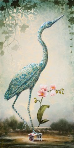 Heron of Orchids by Kevin Sloan Flamingo Art, Virtual Art, Bird Artwork, Creature Feature, Pop Surrealism, Surreal Art, Illustrations, Animal Paintings, Painting Inspiration