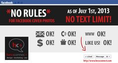 FB ALERT: #Facebook NEW COVER RULES AGAIN!!!! Facebook quietly changed their rules...in our favor on 7/1/13. *NO TEXT LIMIT! You can go beyond 20% now!! Please like and re-Pin this great news to spread the word. https://www.facebook.com/page_guidelines.php  #FacebookCover #FacebookRules #infographic by #HessConnect #socialmedia