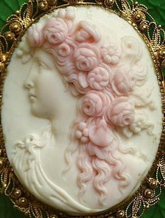 Beautiful shell cameo from circa 1850 of the Goddess Flora
