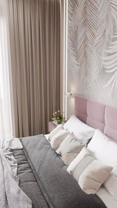 Master Bedroom Design, Room Decor Bedroom Rose Gold, Grey Wallpaper Bedroom, Room Decor Bedroom, Small Bedroom, Chic Bedroom Decor, Home Interior Design, Furniture Design, Modern Style Bedroom