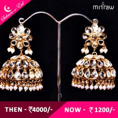 Kundan embellished dangler jhumkas.Shop Now- http://bit.ly/1T83ifi  #Salaam-e-Eid