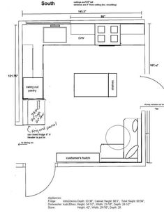 l shaped kitchen layout floor plans Small L Shaped Kitchens, L Shaped Kitchen Designs, Bathroom Floor Plans, Kitchen Floor Plans, Bathroom Ideas, L Shape Kitchen Layout, Kitchen Layouts, Kitchen Ideas, Kitchen Reno
