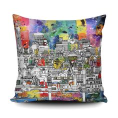 Give your home a #Manchester vibe with this vibrant cushion. Visit the iconic city without even leaving your front door with this brightly coloured design. This drawing was carefully researched by Meha to represent all that Manchester has to offer, from Castlefield and the Beetham Tower to the original bars on Canal street and The Salisbury – and so much more.  #rainbow #multicolour #interiordesign #livingrooms Fabulous Fabrics, Cushion Covers, Gift For Lover, All Art, Bridesmaid Gifts, Manchester, Color Pop, Weaving, Handmade Items