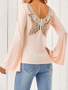 Butterfly Pattern Trumpet Sleeve T-Shirt in Shallow Pink | Sammydress.com