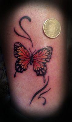 orange butterfly tattoo